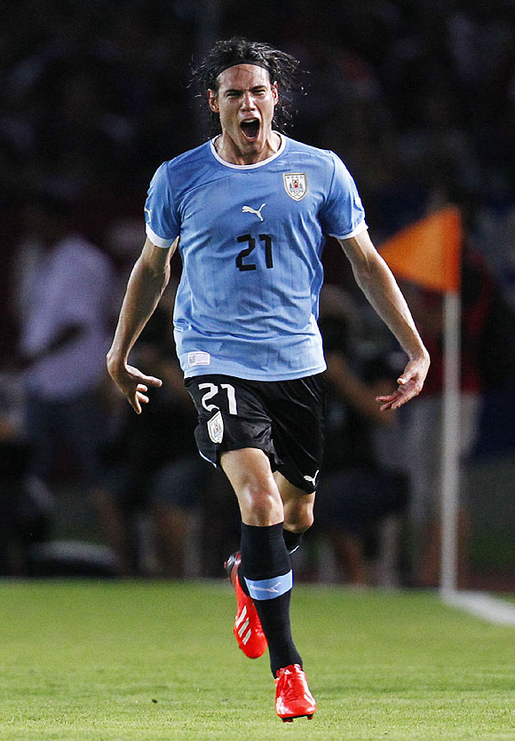 Uruguay's Edinson Cavani celebrates after scoring against Venezuela on Tuesday