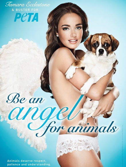 Tamara Ecclestone poses with her dog Buster in a new poster ad for PETA