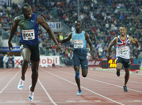 Usain Bolt wins the men's 200m race during the IAAF Diamond League athletics competition at the Bislett Stadium in Oslo on Thursday