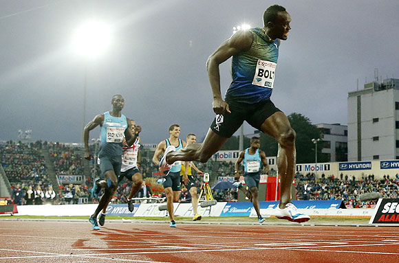 Usain Bolt of Jamaica competes to win the men's 200m during the IAAF Diamond League athletics competition at the Bislett Stadium in Oslo on Thursday
