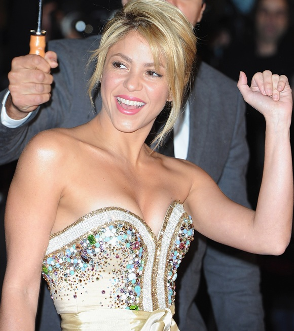 Shakira poses as she arrives at NRJ Music Awards