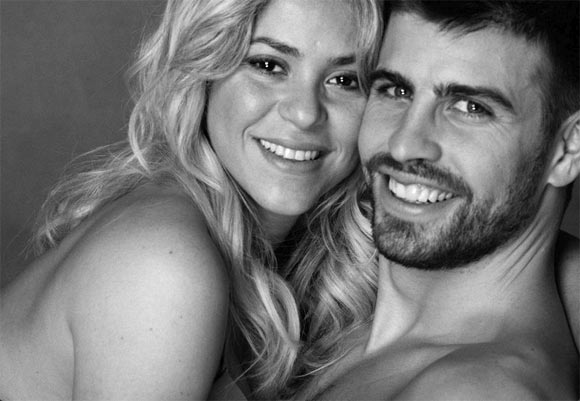 Columbian singer Shakira with beau and FC Barcelona defender Gerard Pique