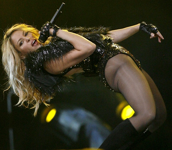 Pop singer Shakira performs during half time of the 2010 NBA All-Star Game in Dallas