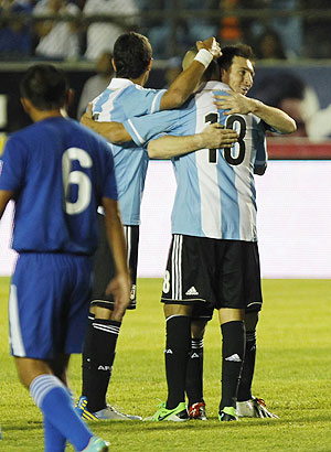 Lionel Messi of Argentina (right) celebrates after scoring during a friendly against Guatemala in the Mateo Flores stadium in Guatemala City, on Friday