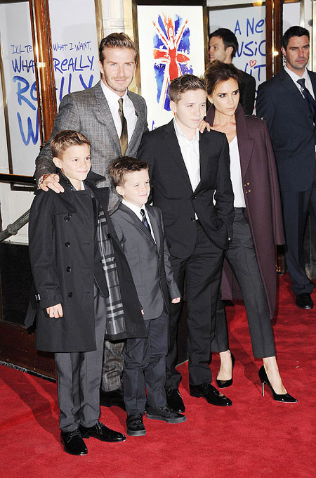 Romeo Beckham, David Beckham, Cruz Beckham, Brooklyn Beckham and Victoria Beckham attend the press night of 'Viva Forever', a musical based on the music of The Spice Girls at Piccadilly Theatre on December 11, 2012 in London