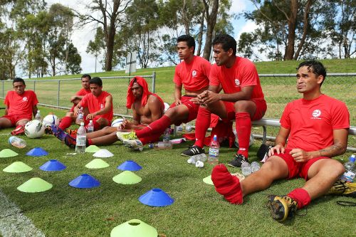 Tahiti players take a break from practice session