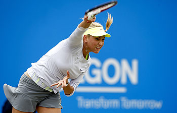 Donna Vekic of Croatia serves in the women's singles final against Daniela Hantuchova of Slovakia at the AEGON Classic Tennis Tournament at Edgbaston Priory Club on Sunday