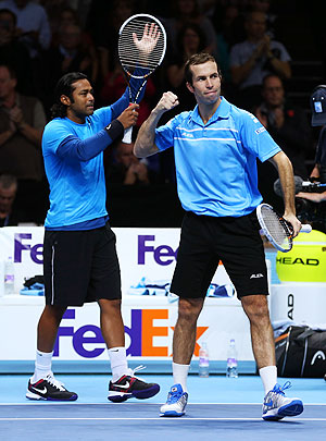 Radek Stepanek (right) of Czech Republic celebrates with Leander Paes of India