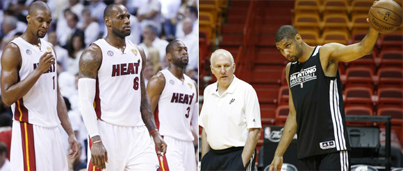 From left: Miami Heat's LeBron James, Chris Bosh and Dwyane   Wade and San Antonio Spurs Head Coach Greg Popovich (left) with Tim Duncan