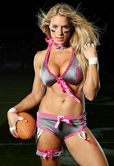 Liz Gorman of the Eastern conference poses during the Lingerie Football League media call at Brisbane Entertainment centre