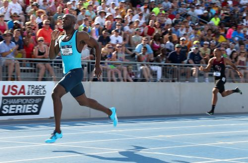 LaShawn Merritt competes en route to winning the Men's 400 Meter Dash final on day three of the 2013 USA Outdoor Track & Field Championships at Drake Stadium