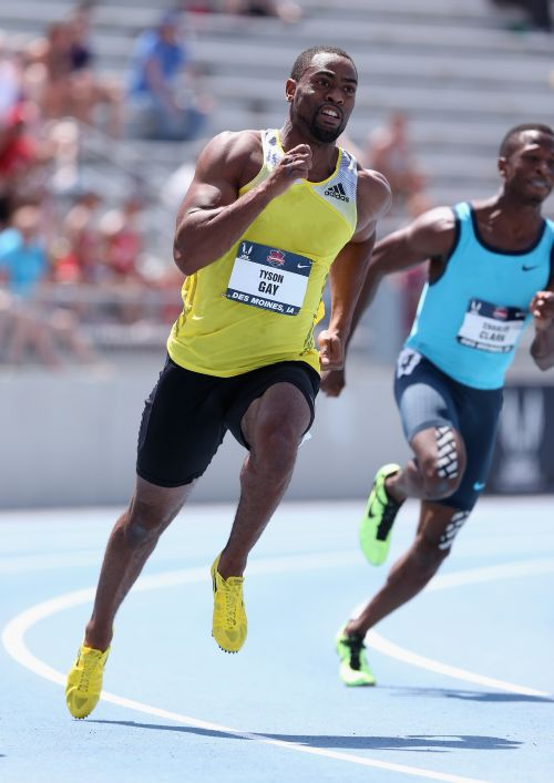 Tyson Gay competes in the opening round of the Men's 200 Meter on day three of the 2013 USA Outdoor Track & Field Championships at Drake Stadium