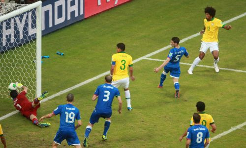 ante of Brazil (13) scores his team's first goal during the FIFA Confederations Cup Brazil 2013 Group A match between Italy and Brazil at Estadio Octavio Mangabeira