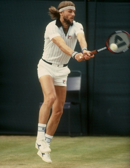 Bjorn Borg of Sweden returns a volley