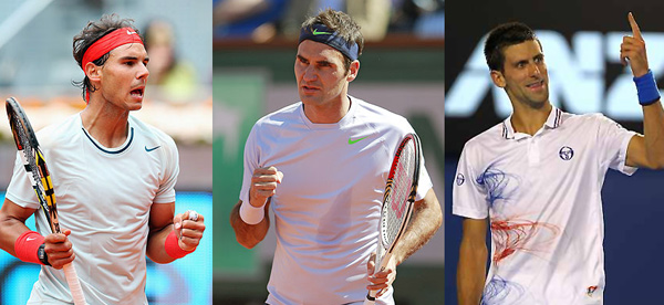 From left: Rafael Nadal, Roger Federer and Novak Djokovic