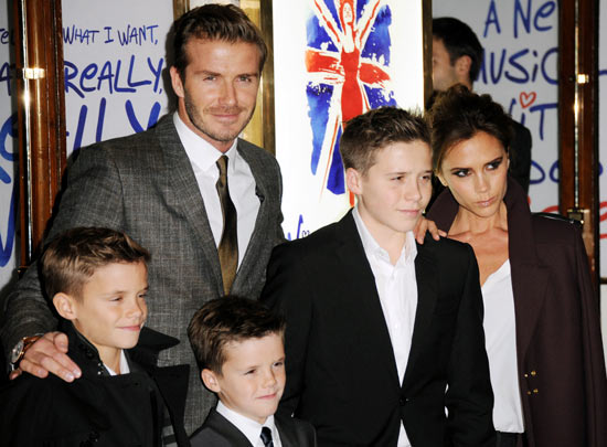 David Beckham with his wife Victoria and his sons Romeo, Cruz and Brooklyn