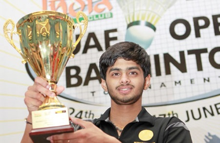 Sai Praneeth with the India Club-Western Union UAE Open trophy he won in 2011