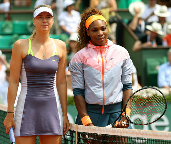 Maria Sharapova (left) and Serena Williams