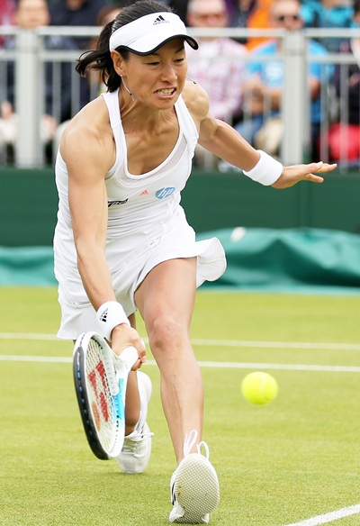 Kimiko Date-Krumm of Japan plays a forehand