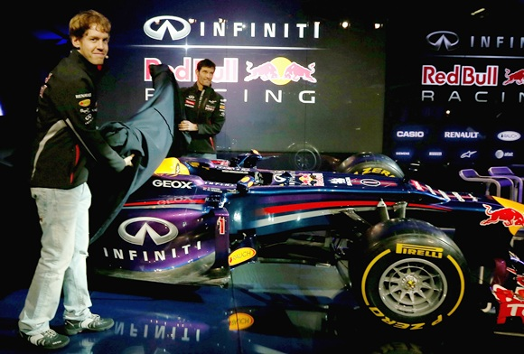 Mark Webber with Sebastian Vettel (left)