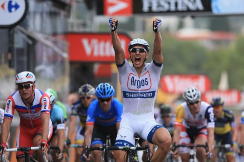 Marcel Kittel of Germany and Argos-Shimano celebrates after winning stage one of the 2013 Tour de France, a 213KM road stage from Porto-Vecchio to Bastia, on June 29, 2013 in B