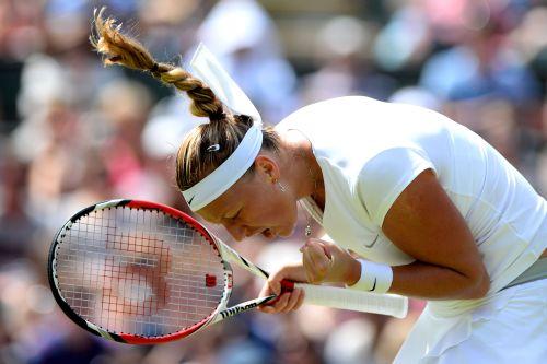 Petra Kvitova of Czech Republic celebrates match point during the Ladies' Singles third round match against Ekaterina Makarova of Russia