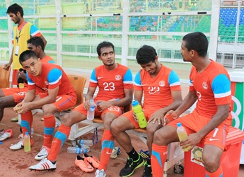 Sunil Chhetri with teammates after India's resounding victory over Guam