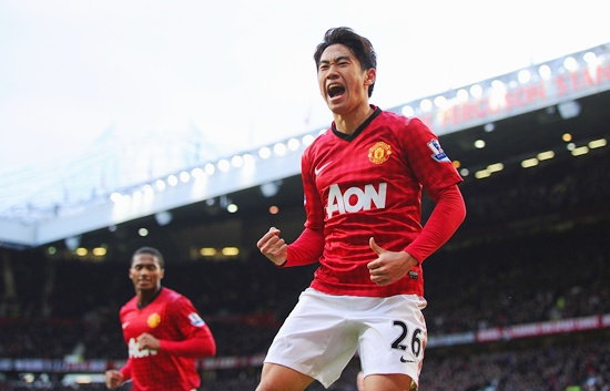 Shinji Kagawa of Manchester United celebrates