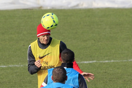 Paris Saint Germain's soccer player David Beckham attends a training session with PSG squad