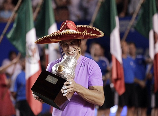 Rafael Nadal of Spain wearing a sombrero, a traditional Mexican hat