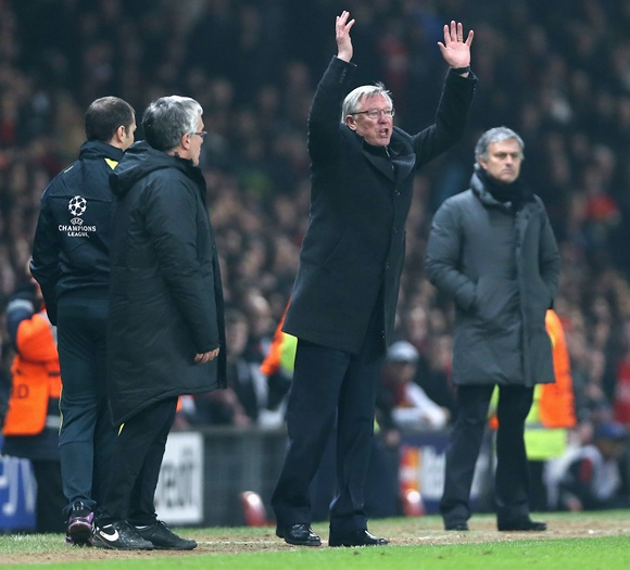 Manchester United manager Sir Alex Ferguson reacts after Nani is sent off