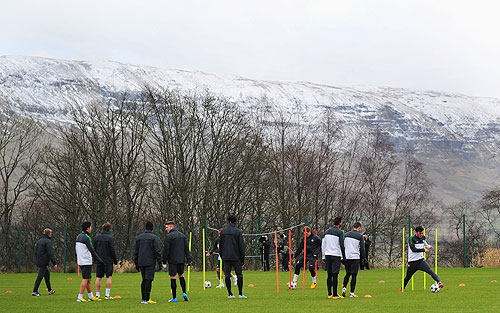 Celtic players at a training camp in Lennoxtown in Glasgow, Scotland