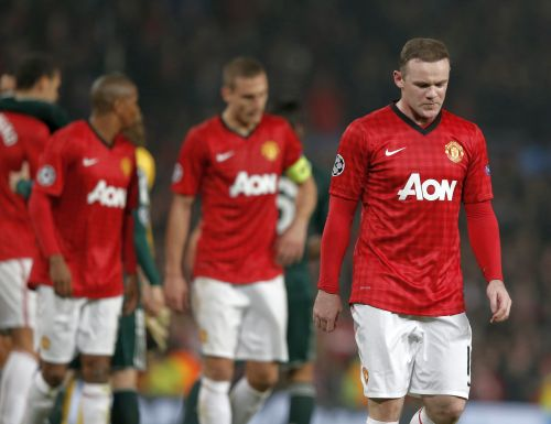 Manchester United's Wayne Rooney reacts after the Champions League soccer match against Real Madrid