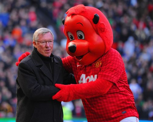 Alex Ferguson with 'Fred the Red'
