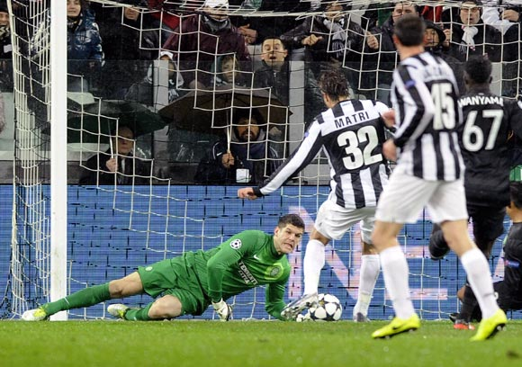 Alessandro Matri of Juventus scores the opening goal