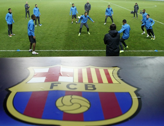 FC Barcelona players attend a practice session