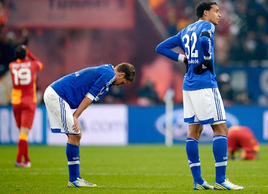 Joel Matip of Schalke looks dejected after the UEFA Champions League