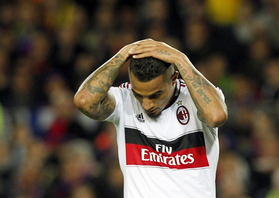 Milan's Kevin-Prince Boateng reacts