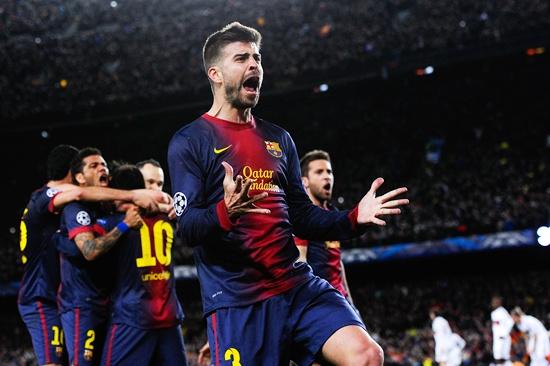 Gerard Pique of FC Barcelona celebrates