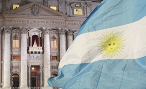Faithful wave Argentina's flag