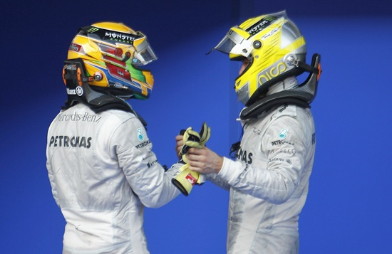 Mercedes Formula One driver Lewis Hamilton (left) and teammate Nico Rosberg