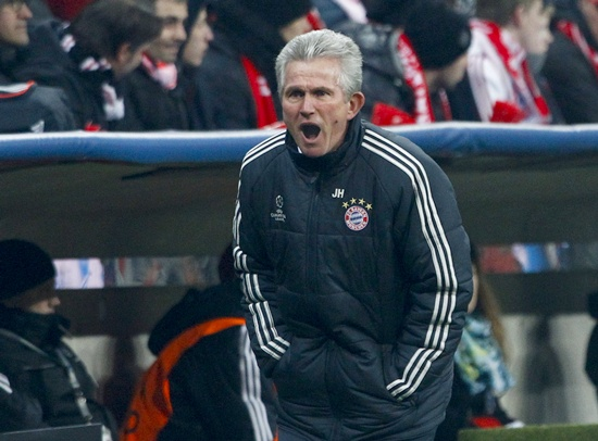 Bayern Munich coach Jupp Heynckes reacts