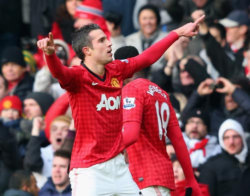 Robin van Persie of Manchester United celebrates after scoring