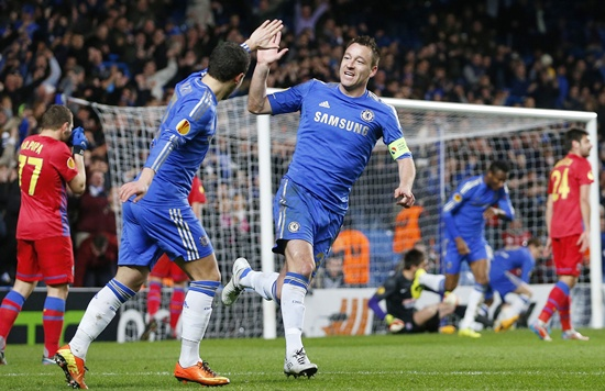 John Terry of Chelsea celebrates with Eden Hazard (left)