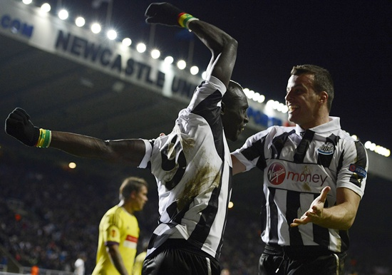 Newcastle United's Papiss Cisse (left) celebrates scoring with Steven Taylor
