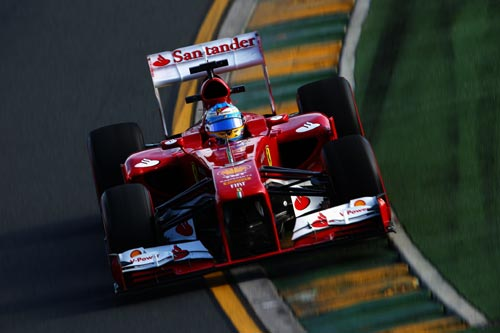 Fernando Alonso of Spain and Ferrari drives during practice for the Australian Formula One Grand Prix