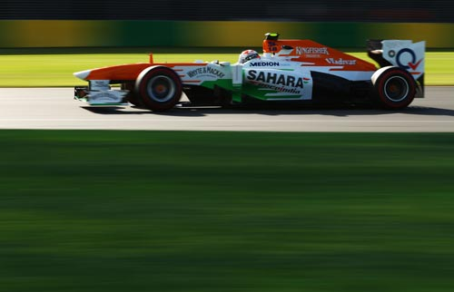 Adrian Sutil of Germany and Force India drives during practice for the Australian Formula One Grand Prix