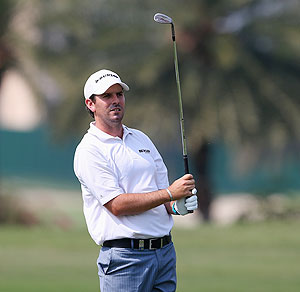 Thomas Aiken of South Africa in action during day three of the Avantha Masters at Jaypee Greens Golf Club in NeW Delhi on Saturday