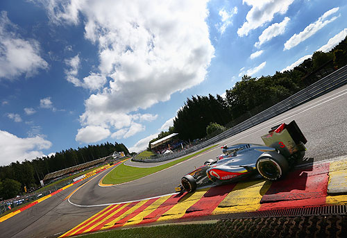 Jenson Button of Great Britain and McLaren drives through Eau Rouge on his way to securing pole position during qualifying for the Belgian Grand Prix at the Circuit of Spa Francorchamps on September 1, 2012 in Spa Francorchamps, Belgium