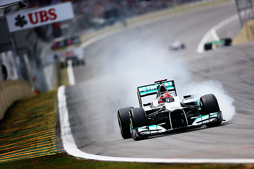 Michael Schumacher of Germany and Mercedes GP drives during qualifying for the Brazilian Formula One Grand Prix at the Autodromo Jose Carlos Pace on November 24, 2012 in Sao Paulo, Brazil